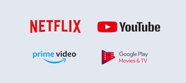 Logotipi za Netflix, YouTube, prime video in Google Play