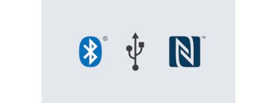 Logotipi Bluetooth, USB in NFC